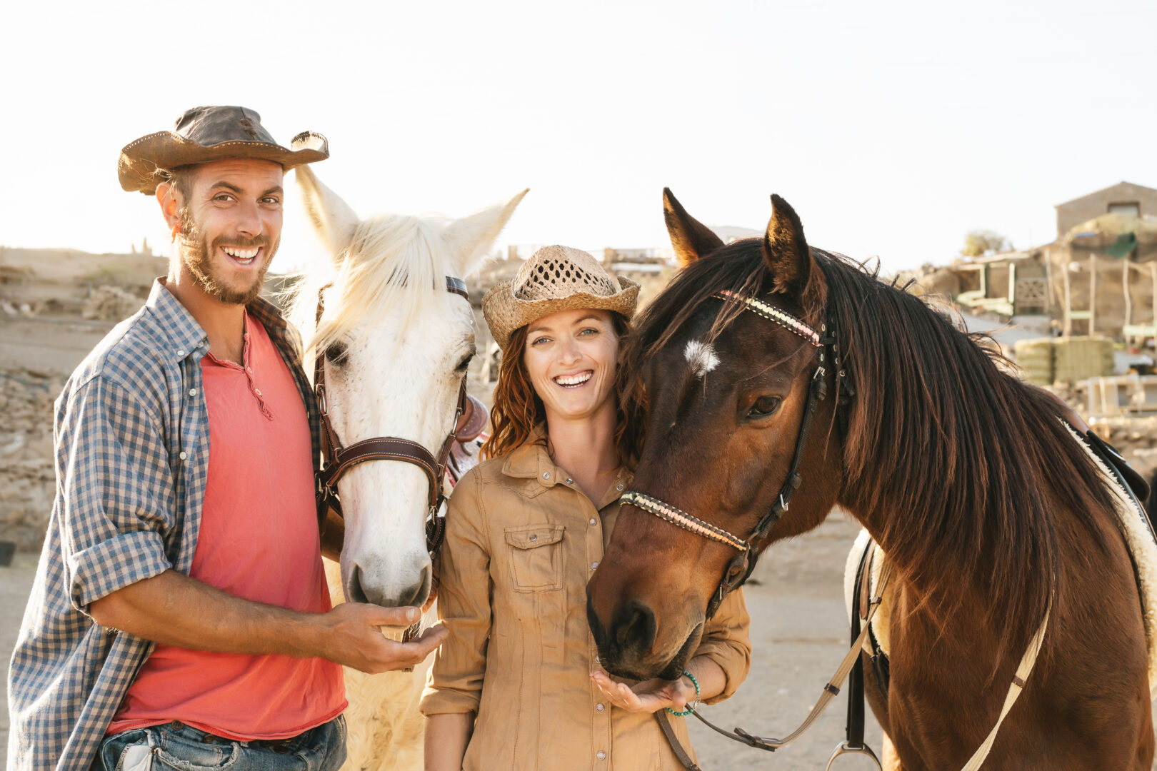 emma and edo with rescue horses: echo and whiteboy