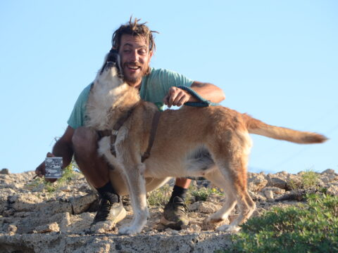 man with rescue dog